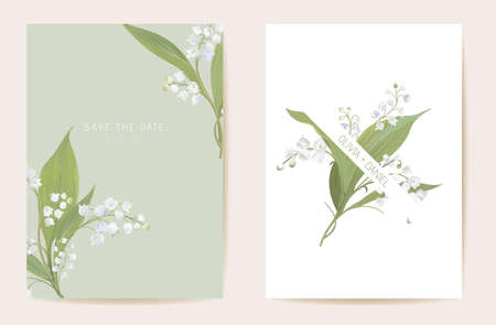Watercolor lily floral wedding card. Vector spring flower, rustic blossom, leaves invitation. Boho template frame