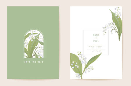 Wedding lily floral Save the Date set. Vector spring flowers, leaves boho invitation card. Watercolor template Illustration