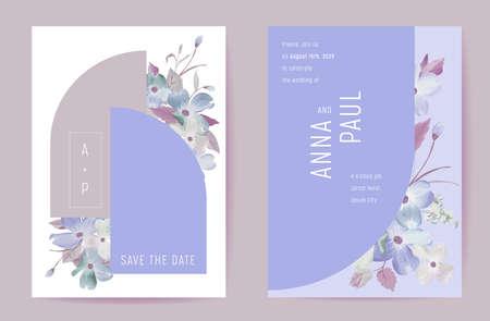 Wedding floral invitation botanical card. Boho spring blossom poster, frame set, modern minimal violet template