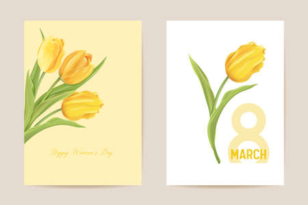 Woman day 8 March holiday card. Spring floral vector illustration. Greeting realistic tulip flowers template