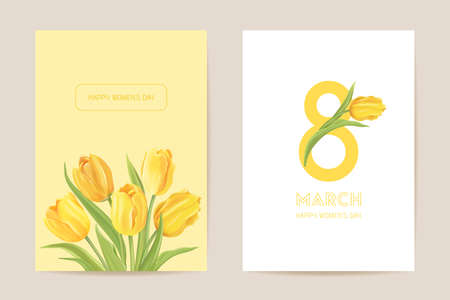 Women international day greeting. Vector floral card illustration. Realistic tulip flowers template background