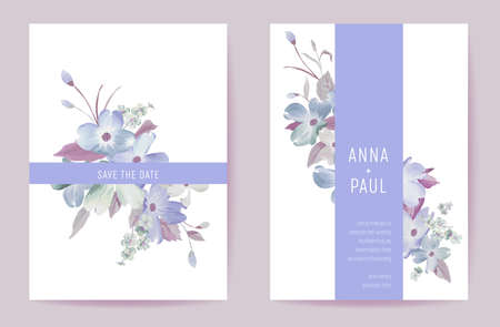 Wedding invitation spring pastel flowers. Floral watercolor blooming card minimal template vector Illustration
