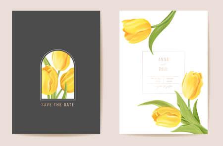 Floral wedding modern tulip vector Invitation. Flower Save the Date set. minimal spring card