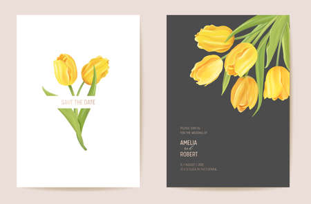 Wedding floral invitation. Modern tulip flower Save the Date set. Vector minimal spring card Illustration
