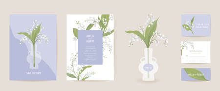 Lily flowers watercolor wedding card. Vector spring floral invitation. Rustic floral blossom. Boho template frame