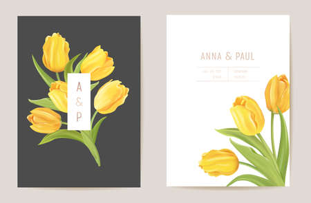 Wedding modern tulip flower Save the Date set. Vector minimal spring floral invitation card Illustration