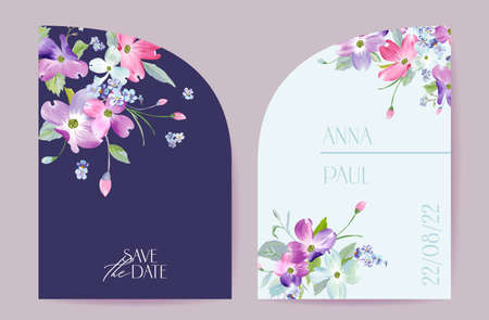 Wedding spring blooming floral vector card. Dogwood blossom flowers invitation. Watercolor template frame Illustration