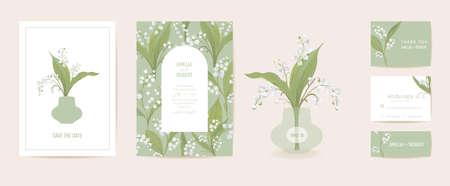 Modern minimal Art Deco wedding vector Invitation set. Boho lily flower card template..Spring pastel flowers poster