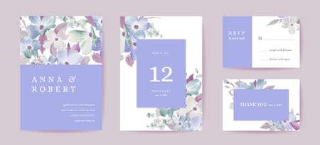 Boho wedding invitation card. Vintage Save the Date dogwood flowers, floral template design watercolor illustration Illustration