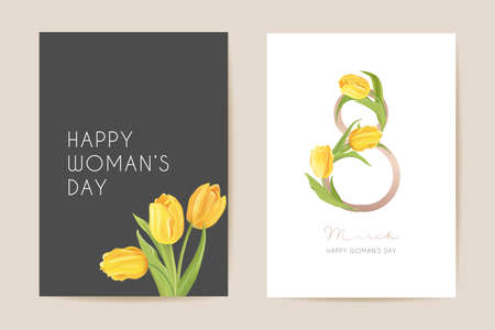 Modern Woman day 8 March holiday card. Spring floral vector illustration. Greeting realistic tulip flowers template