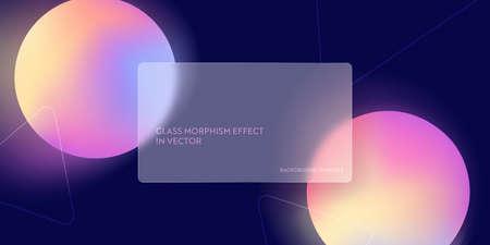 Modern glass morphism fluid gradient background. Vector template futuristic trendy design Banner