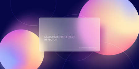 Trendy glass morphism fluid gradient background. Vector template futuristic trendy design Banner
