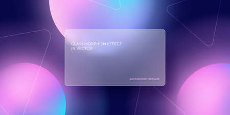 Modern abstract gradient background with glass morphism. Vector template futuristic trendy design Banner