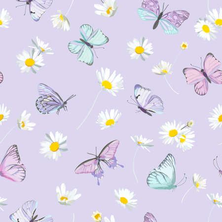 Watercolor daisy flowers and butterfly vector background. Seamless spring floral pattern Illustration