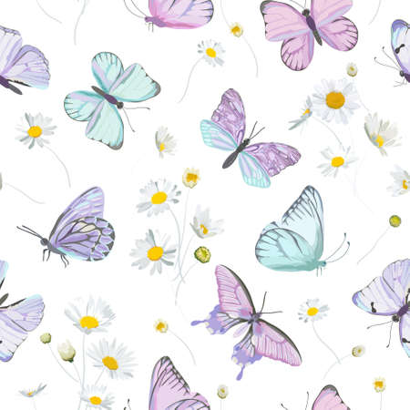 Seamless daisy flowers and butterfly vector background. Spring floral watercolor pattern Illustration