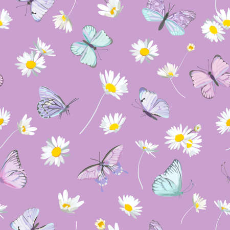 Seamless daisy flowers and butterfly violet vector background. Spring floral watercolor pattern