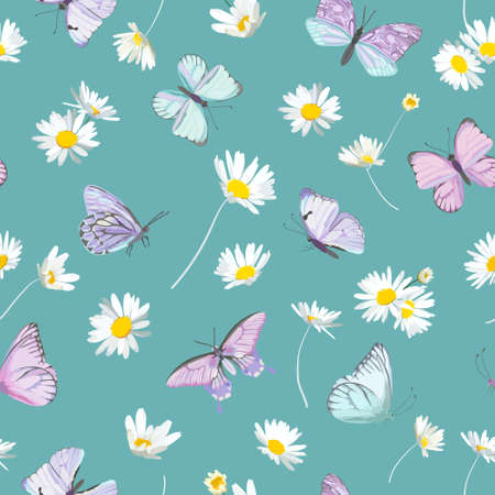 Spring daisy flowers and butterfly vector background. Seamless floral watercolor pattern