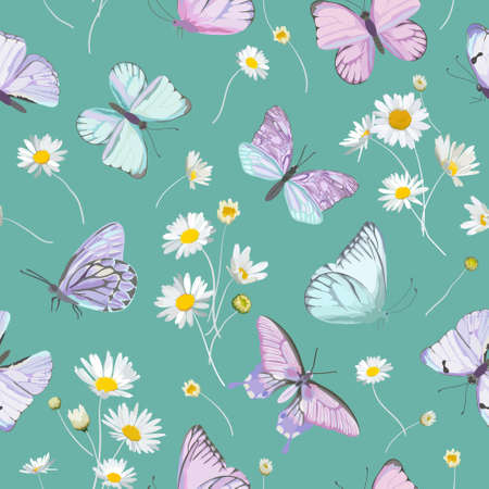 Daisy flowers and butterfly vector background. Seamless spring floral watercolor pattern