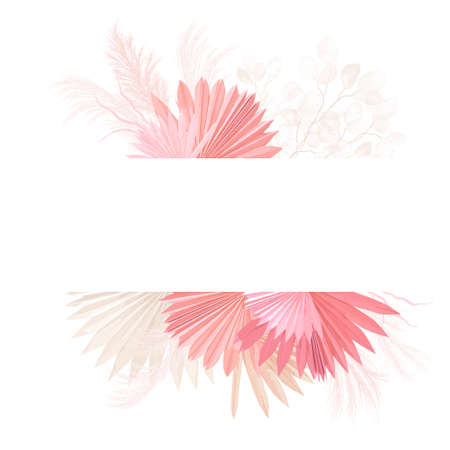 Watercolor floral wedding vector frame. Pampas grass, orchid flowers, dry palm leaves border template