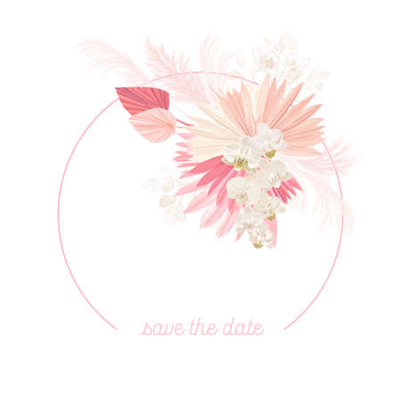 Boho floral wedding vector frame. Watercolor pampas grass, orchid flowers, dry palm leaves border template
