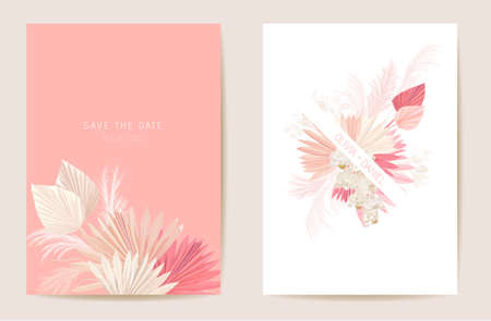 Watercolor orchid, pampas grass, lunaria floral wedding card. Vector exotic flower, tropical palm leaves invitation Illustration