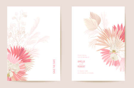 Wedding dried lunaria, orchid, pampas grass floral Save the Date set. Vector exotic dry flower, palm leaves