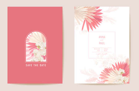 Wedding dried lunaria, orchid, pampas grass floral Save the Date set. Vector exotic dry flower, palm leaves boho