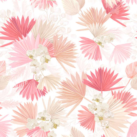 Seamless watercolor tropic floral pattern, pastel dry palm leaves, boho tropical flower, orchid Standard-Bild