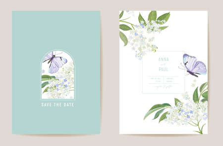 Wedding elderflower floral Save the Date set. Vector white spring flower and butterfly boho invitation card