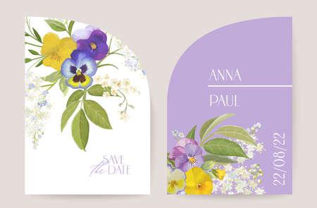 Modern minimal Art Deco wedding vector Invitation set. Boho violet pansy violet card template Illustration