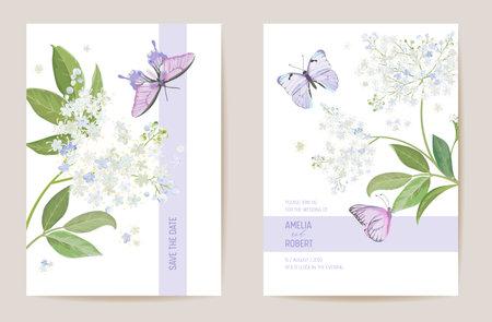 Watercolor elderberry floral wedding card. Vector white spring flowers invitation. Boho template frame Illustration