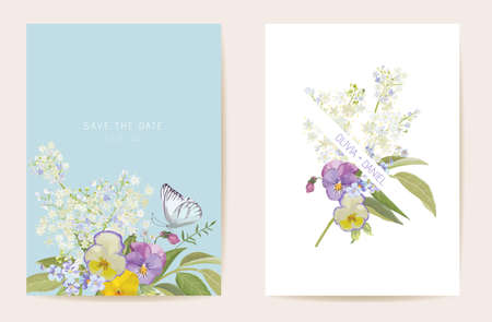 Watercolor violet pansy floral wedding card. Vector purple spring flowers invitation. Boho template frame