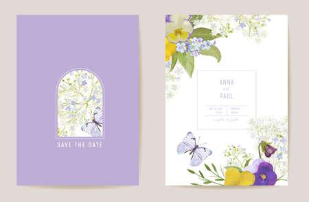 Wedding violet pansy floral Save the Date set. Vector purple spring flowers boho invitation card Illustration