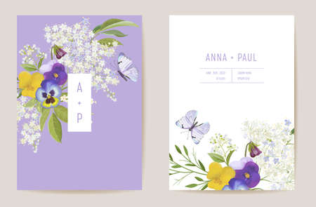 Wedding violet pansy floral Save the Date set. Vector spring flower boho invitation card. Watercolor template frame