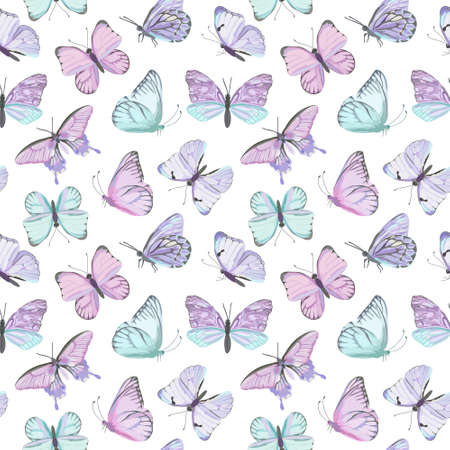 Seamless vector butterfly watercolor pattern. Vintage flying insect summer background. Colorful texture