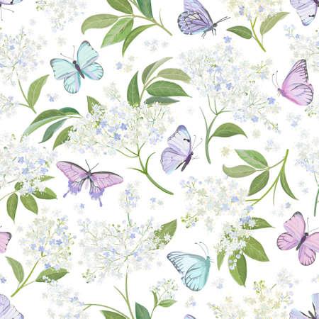 Seamless watercolor white elderberry floral background. Spring elderflower and butterflies pattern template