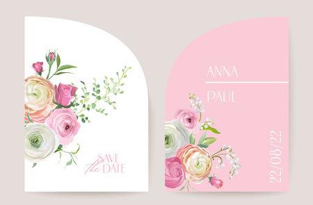 Modern minimal Art Deco wedding vector Invitation set. Boho ranunculus, rose, lily card template