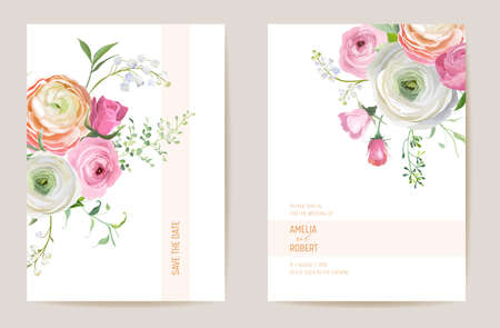 Wedding dried ranunculus, rose, lily floral Save the Date set. Vector spring dry flower, palm leaves invitation card
