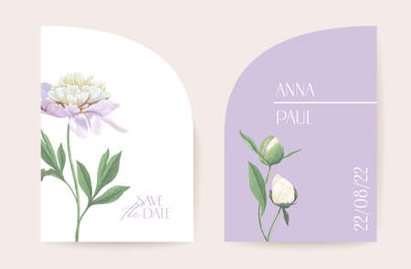 Modern minimal Art Deco wedding vector Invitation set. Boho peony flower card template. Spring pastel flowers