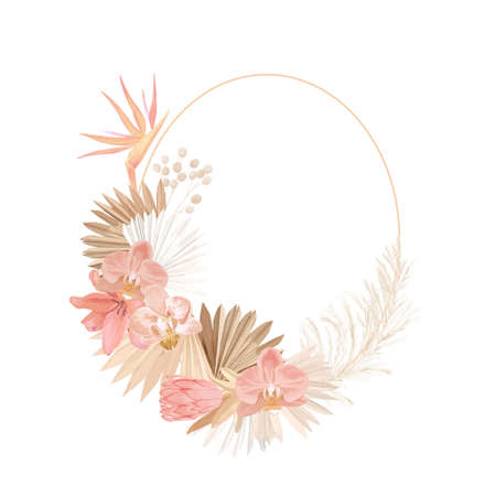 Floral wreath with watercolor dry pastel flowers, pampas grass, tropical palm. Vector summer vintage orchid flower