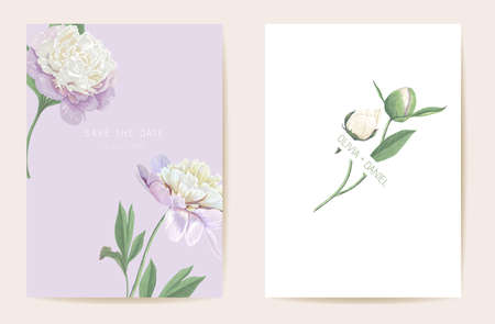 Watercolor peony floral wedding card. Vector spring flower, rustic blossom, leaves invitation. Boho template frame