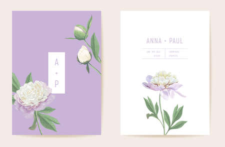 Peony flowers watercolor wedding card. Vector spring floral invitation. Rustic floral blossom. Boho template frame