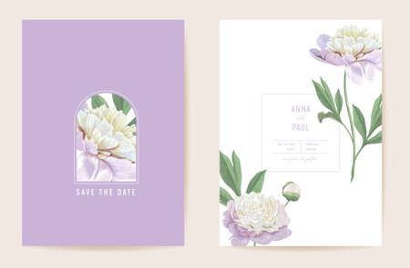 Wedding peony floral Save the Date set. Vector spring flowers, leaves boho invitation card. Watercolor template