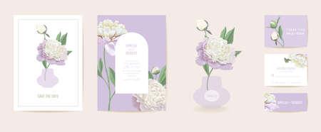 Modern minimal Art Deco wedding vector Invitation set. Boho peony flower card template Illustration