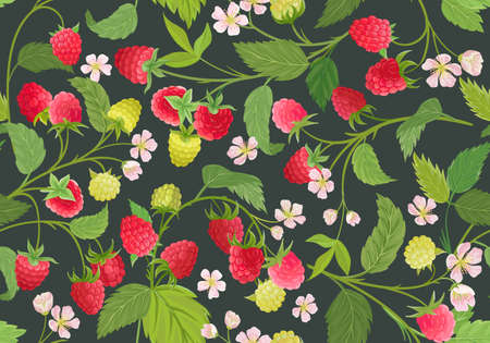 Seamless raspberry pattern with summer berries, fruits, leaves, flowers background