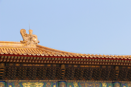 The Forbidden City.An  imperial palaces, to which entry was forbidden to all except the members of the imperial family and their servants.The photo shows the roofs and their decorations.