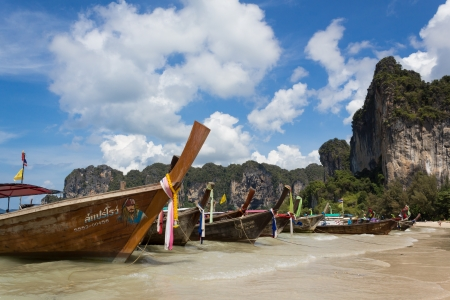 Long tail boats on the Railay beach, Krabi, Thailand  photo