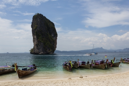 Long tail boats near Poda island, Krabi, Thailand  photo