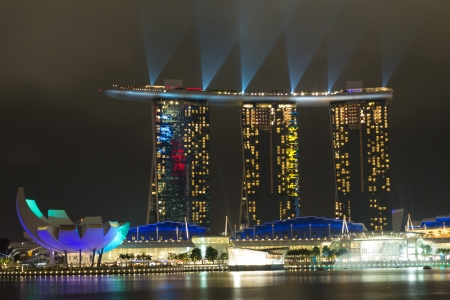 Marina bay in Singapore, 20th of February 2012, Laser show in Marina Bay Sands resort