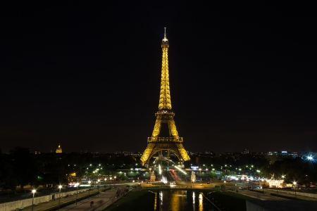 Mars field in Paris, France, 13th of September 2012, Eifel tower with the lights shining at night
